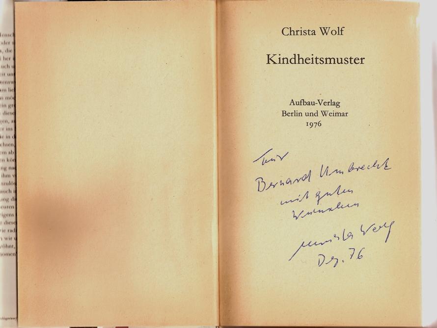 Dédicace Christa Wolf