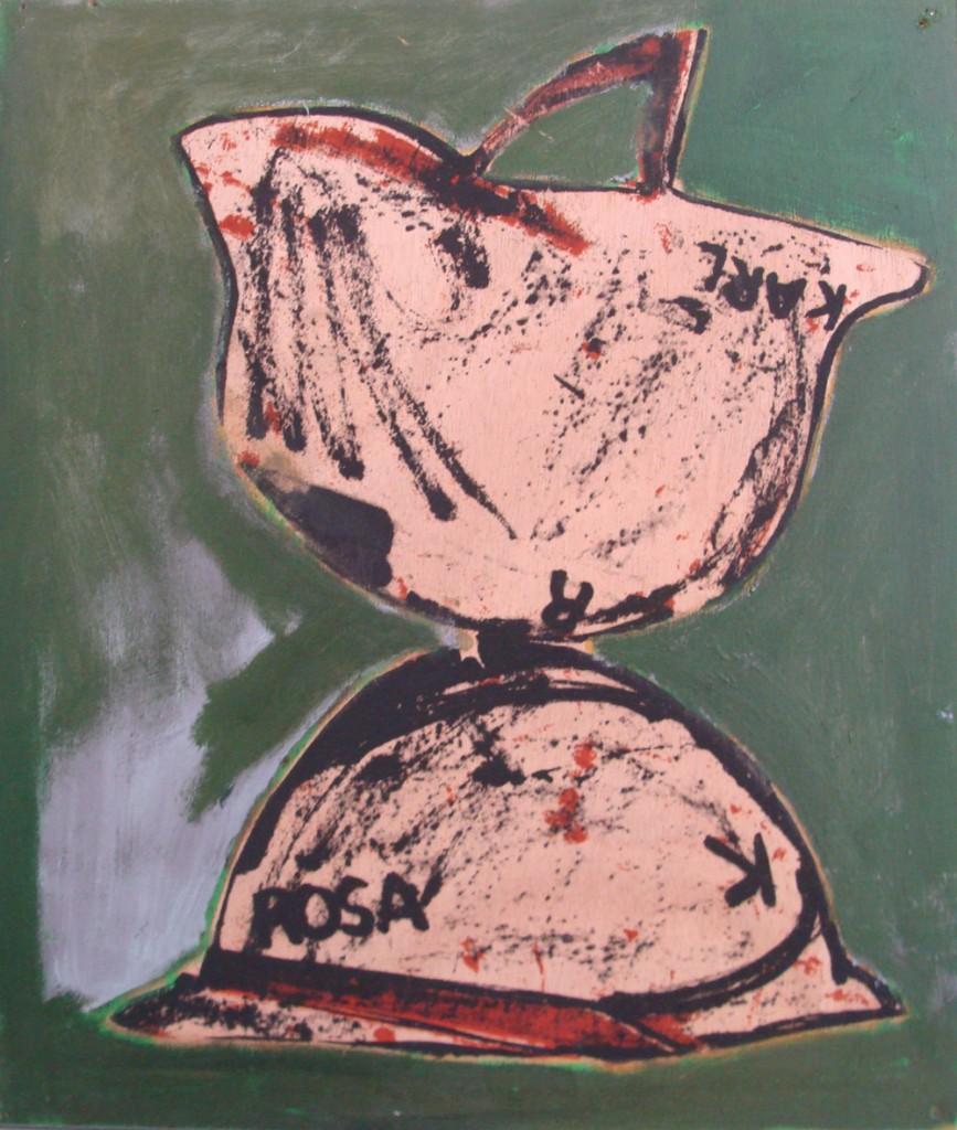"""© Pierre Buraglio """"Rosa et Karl"""" 2011 - sérigraphie montée sur châssis et rehaussée - 46 x 38 cm - Courtesy l'artiste / Galerie Catherine Putman (Paris)"""