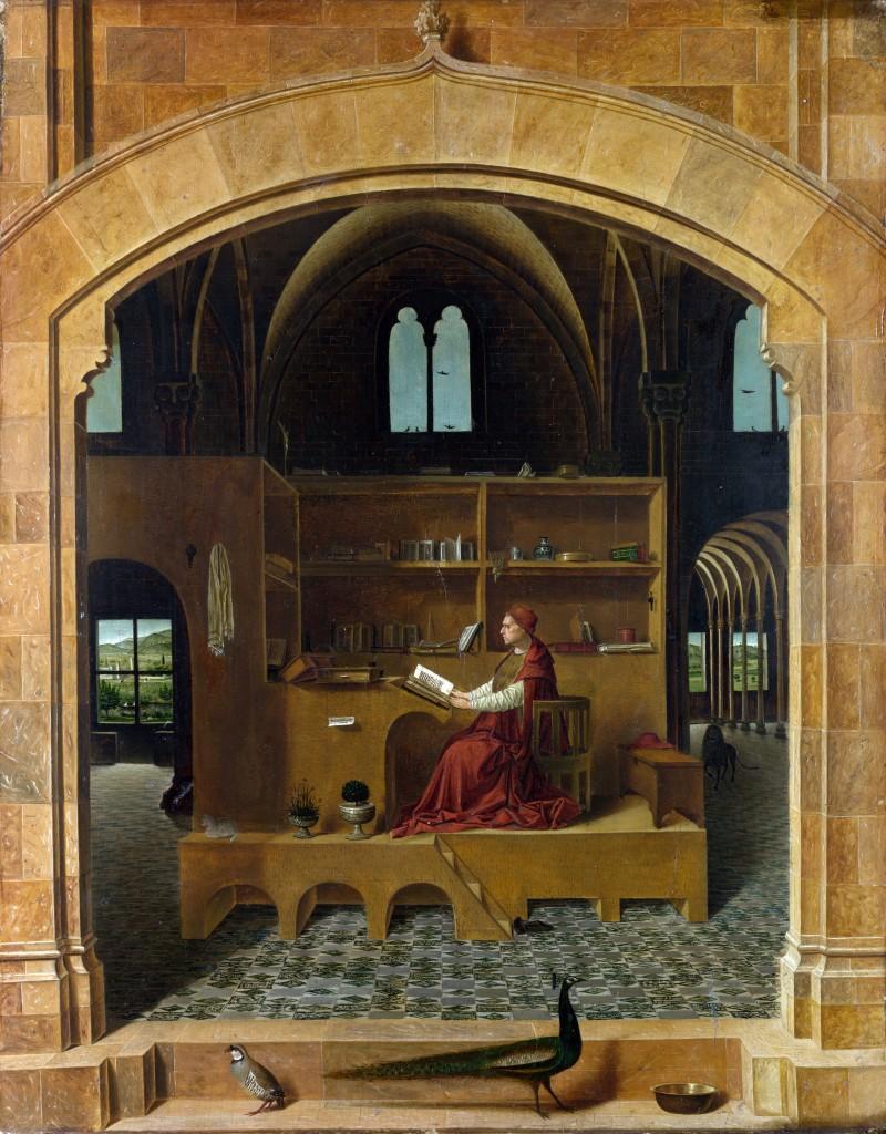 Saint Jerome en son étude par  Antonello da Messina aux environ de 1475