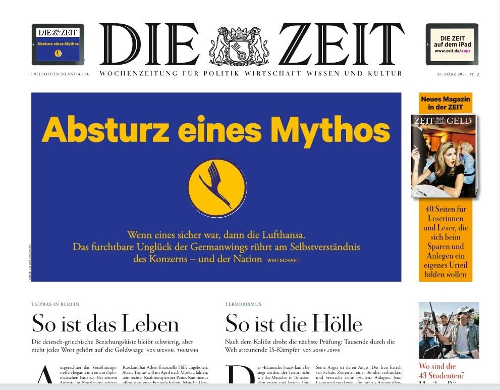 Die Zeit 26 mars 2015 : L'effondrement d'un mythe