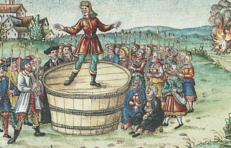 Gravure représentant le prédicateur Hans Böhm de Nicklashausen