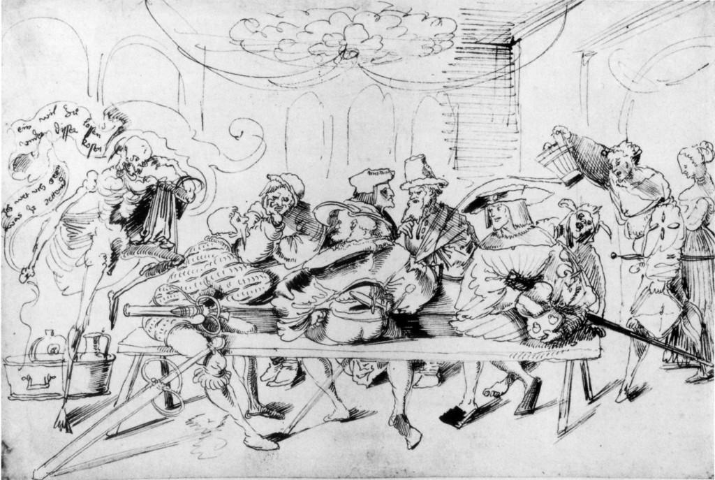 Urs Graf  Recrutement d'un lansquenet, vers 1521,  dessin à la plume Kunstmuseum Basel Dans la maison des corporations, l'ambassadeur français muni d'une bourse bien garnie flatte un lansquenet allemand (à gauche) et un mercenaire confédéré (au centre).