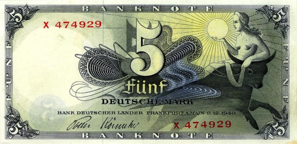 L'enlèvement d'Europe sur un billet de banque allemand en 1948
