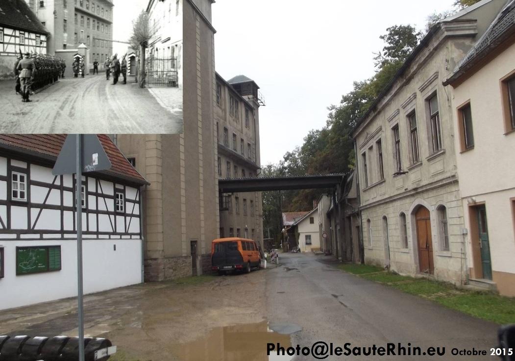 En haut à gauche la relève de la garde au camp de concentration de Sachsenburg en 1934. Vue du même endroit en octobre 2015.