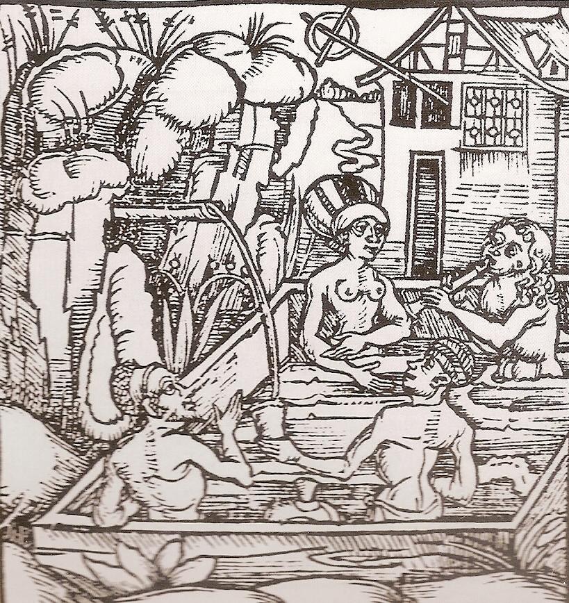 """Une station thermale de l'espace rhénan extrait de Gregor Reisch : """"Margarita Philosophica (= encyclopédie) 1504"""