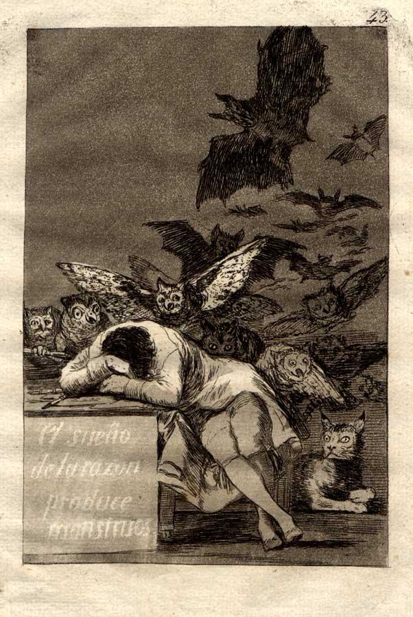 Eau forte de Francisco Goya : «Le sommeil de la raison engendre des monstres» (1797-98)
