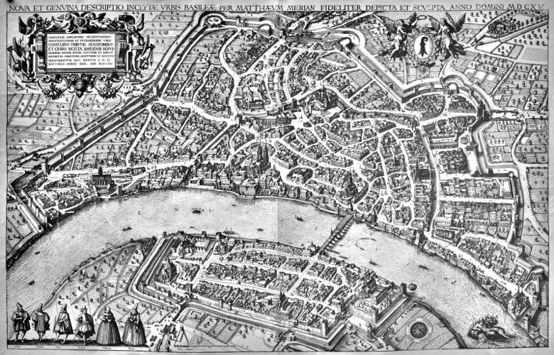 Vue «aérienne» de Bâle par Matthäus Merian en 1615