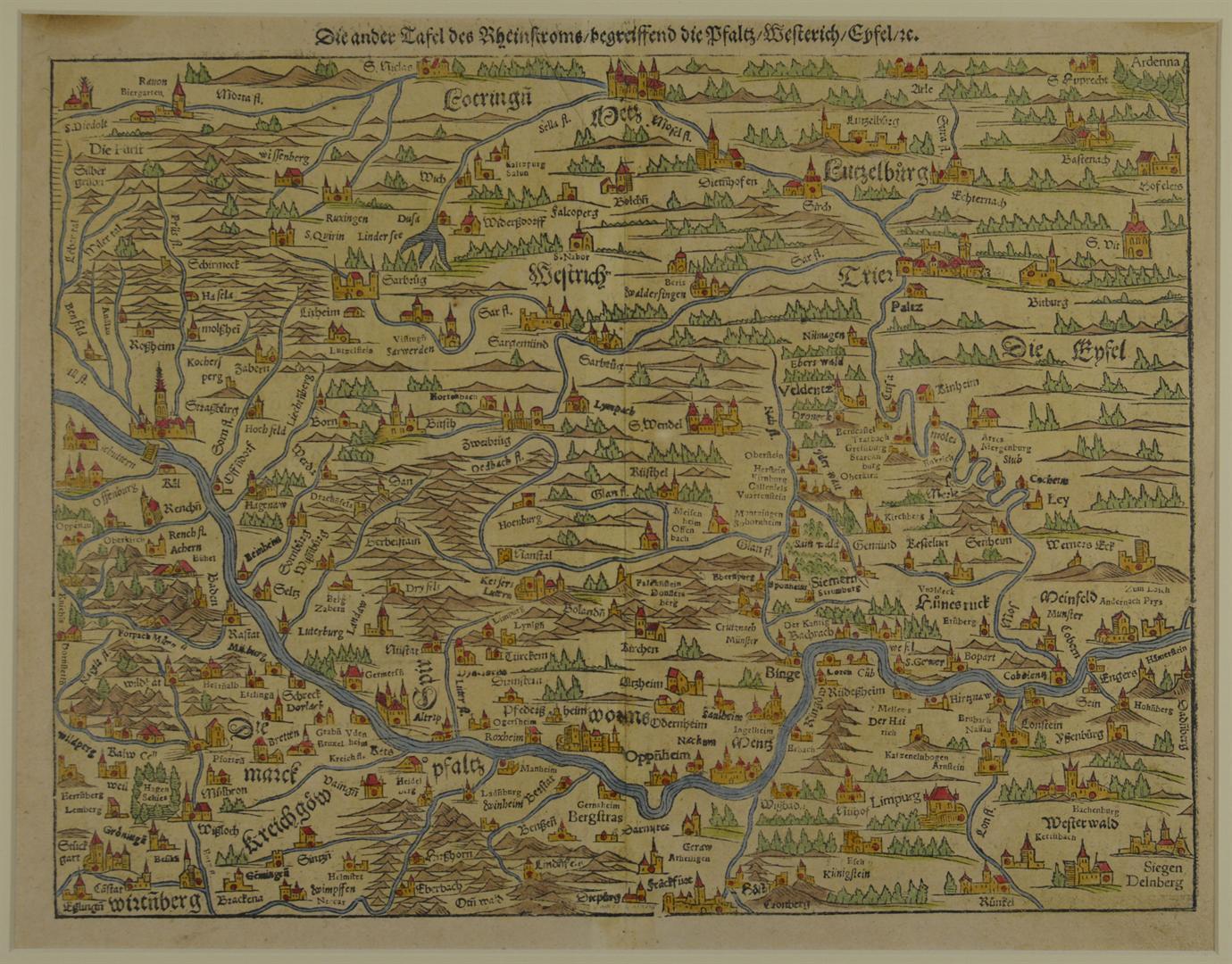 Le Rhin de Strasbourg à Cologne . Gravure dur bois de Sebastian Münster 1588 (Archives départementales du Bas-Rhin)