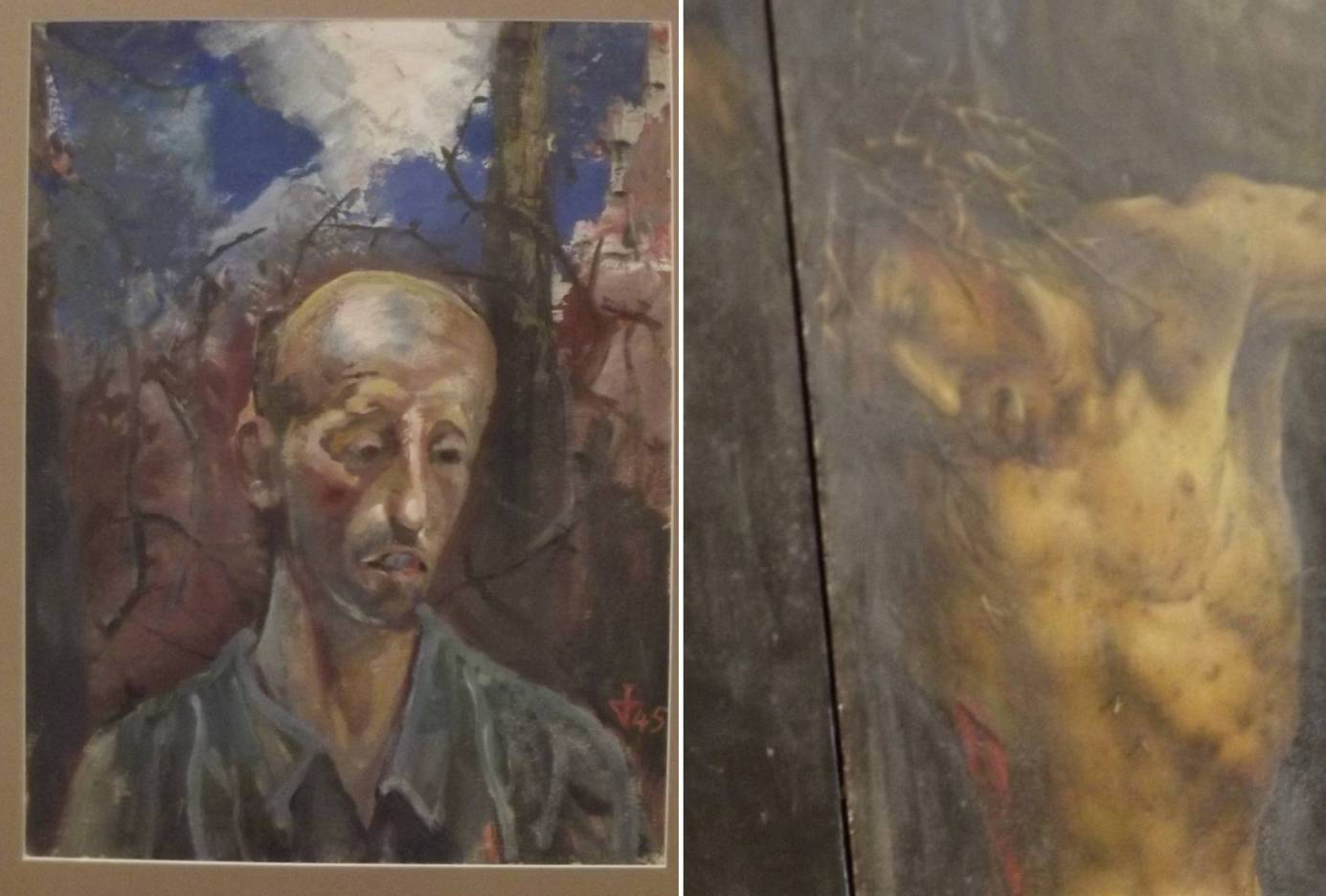"""A gauche, Otto Dix,""""Portrait d'un prisonnier de guerre""""(1945) ; à droite un détail du Retable d'Issenheim"""